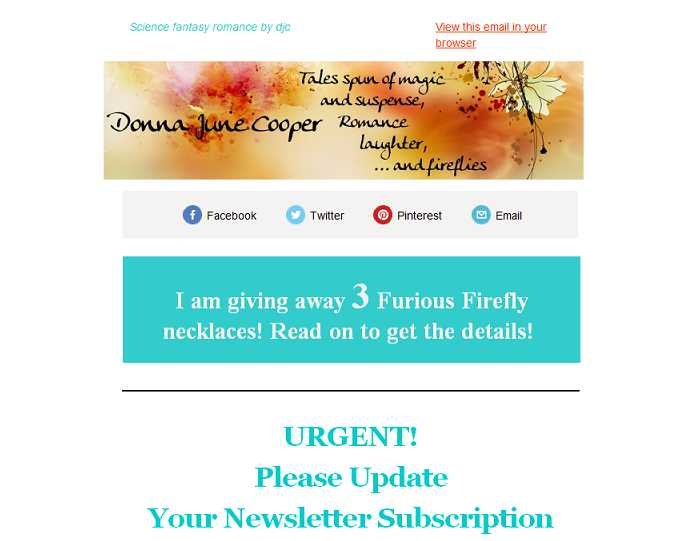 giveaway newsletter
